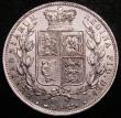 London Coins : A145 : Lot 1716 : Halfcrown 1887 Young Head ESC 717 UNC or near so, the obverse with a few flecks of toning, slabbed a...