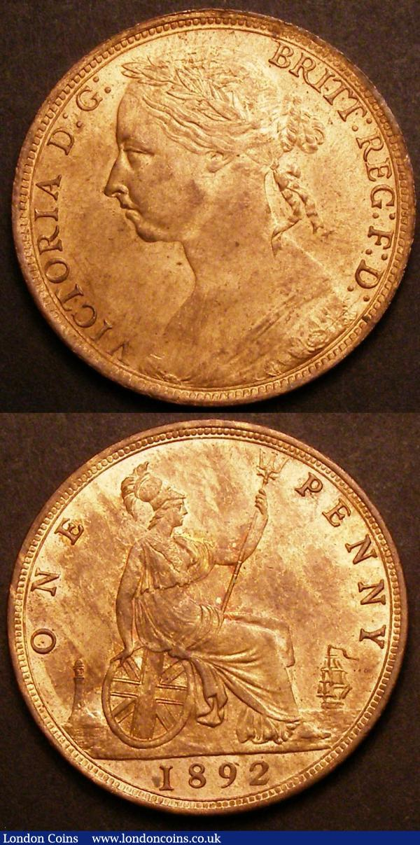 Pennies (2) 1874H Freeman 73 dies 7+H EF with traces of lustre, some hairlines on either side, 1892 Freeman 134 dies 12+N UNC and lustrous with a few tiny spots : English Coins : Auction 145 : Lot 1858