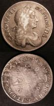 London Coins : A145 : Lot 2085 : Shillings (2) 1674 Second Bust 4 over 3 ESC 1039A About Fine/Near Fine,  1674 Plume both sides ESC 1...