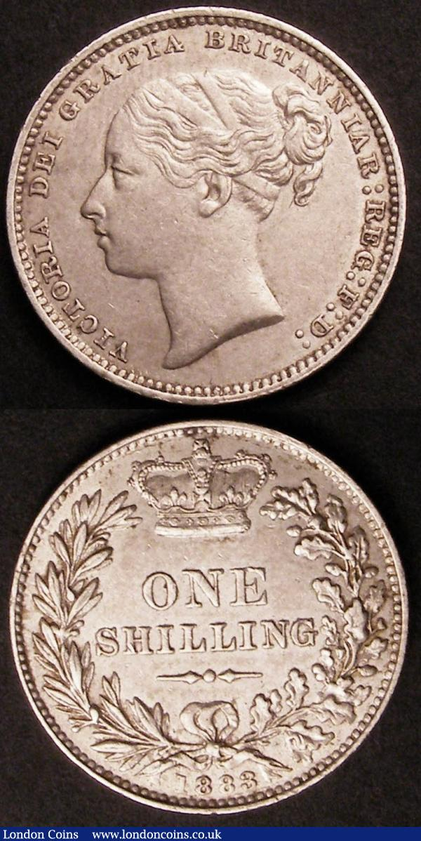 Shillings (2) 1883 ESC 1342 NEF, 1889 Large Jubilee Head ESC 1357 EF : English Coins : Auction 145 : Lot 2087