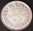 London Coins : A145 : Lot 2394 : Threepence 1881 ESC 2088 GEF/AU with some contact marks