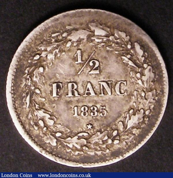 Belgium Half Franc 1835 with signature on truncation KM#14 GF/NVF toned : World Coins : Auction 145 : Lot 577