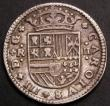 London Coins : A145 : Lot 734 : Spain 2 Reales 1710 Charles III (The Pretender) Barcelona Mint, Reverse: CAROLVS monogram Bold Fine