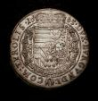 London Coins : A146 : Lot 1052 : Austria Thaler 1665 Hall Mint KM#1239.2 Dav.3370A EF with a planchet clip at 3 o'clock on the o...