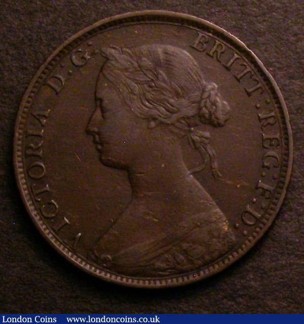 Halfpenny 1861 Freeman 278 dies 7+D Good Fine/Fine, rated R16 by Freeman, Ex-Colin Cooke £6, Ex-M.Peake 10/82 : English Coins : Auction 146 : Lot 2575