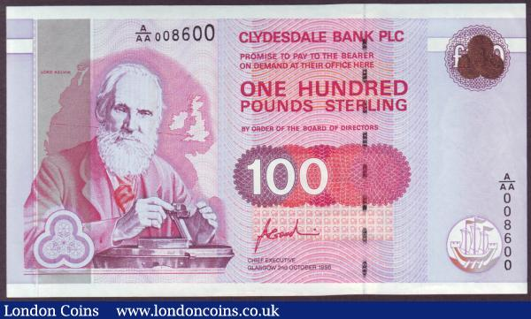 Scotland Clydesdale Bank PLC £100 dated 2nd October 1996 first series A/AA 008600 signed Goodwin, Lord Kelvin portrait, Pick223, about UNC : World Banknotes : Auction 146 : Lot 461