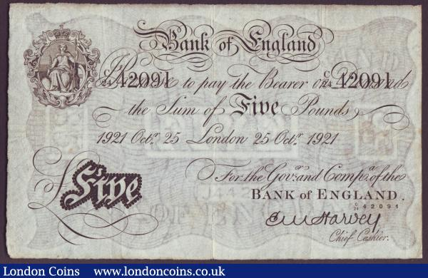 Five pounds Harvey white B209a dated 25th October 1921 series C/24 42091, inked letters reverse, Fine : English Banknotes : Auction 146 : Lot 59