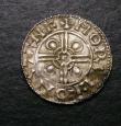 London Coins : A147 : Lot 1878 : Penny Cnut Pointed Helmet type S.1158 Stamford Mint moneyer MORVL.F VF with some toning on the obver...