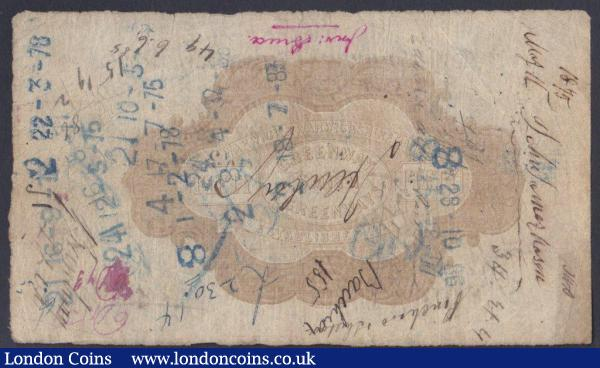 Warwick & Warwickshire Bank £50 dated 1869 series No.127 for Greenway, Smith & Greenways, (Outing 2279g), pinholes, bankruptcy stamp & numerous ink annotations, about Fine and scarce high denomination  : English Banknotes : Auction 148 : Lot 108