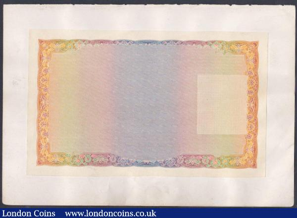 Bradbury Wilkinson reverse unfinished trial proof, circa 1907, large rectangular orange & multicoloured design, both Country and Bank need verifying, stuck to thin paper from a book page. : World Banknotes : Auction 148 : Lot 155