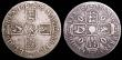 London Coins : A148 : Lot 1784 : Crowns (2) 1676 VICESIMO OCTAVO ESC 51 VG with WW stamped on the obverse, 1696 OCTAVO ESC 89 VG or b...