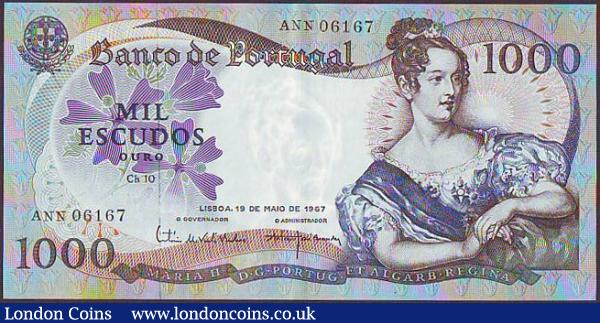 Portugal 1000 escudos dated 1967, Chapa 10 series ANN 06167, Pick172a, GEF : World Banknotes : Auction 148 : Lot 309