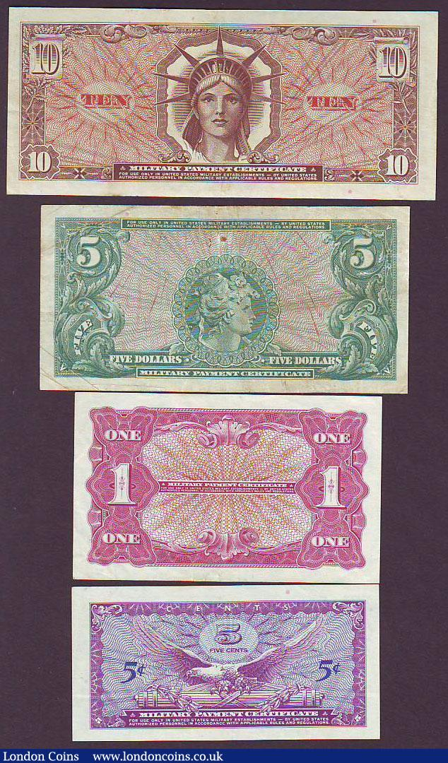 Usa Military Payment Certificates 4 All Series 641 Used During Vie