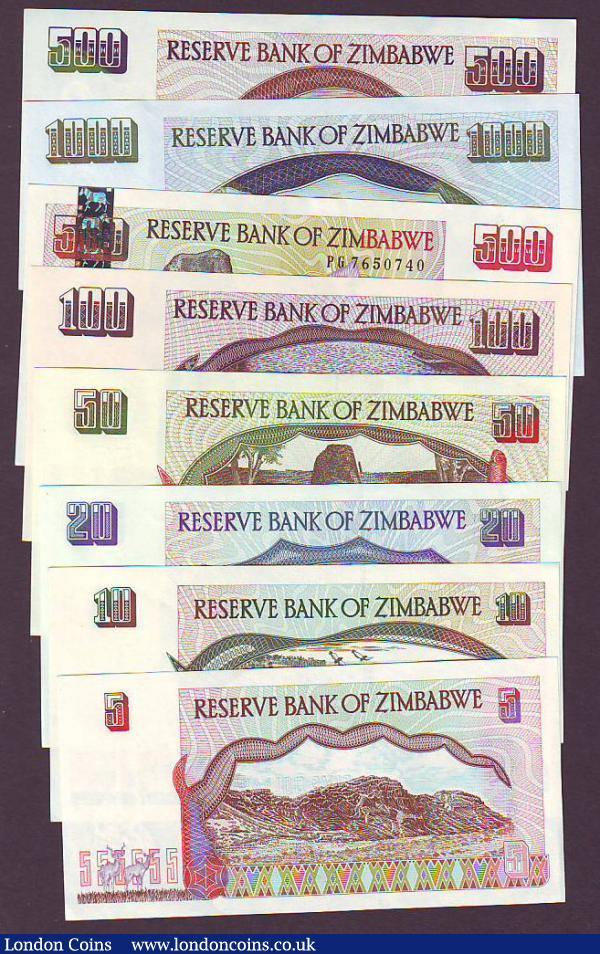 Zimbabwe Reserve Bank (8) $5 1997 Pick5, $10 1997 Pick6a, $20 1997 Pick7a, $50 1994 Pick8a, $100 1995 Pick9a, $500 2001 Pick10 about EF, $500 2001 Pick11 and $1000 2003 Pick12, apart from Pick10 mostly about UNC to UNC : World Banknotes : Auction 148 : Lot 373