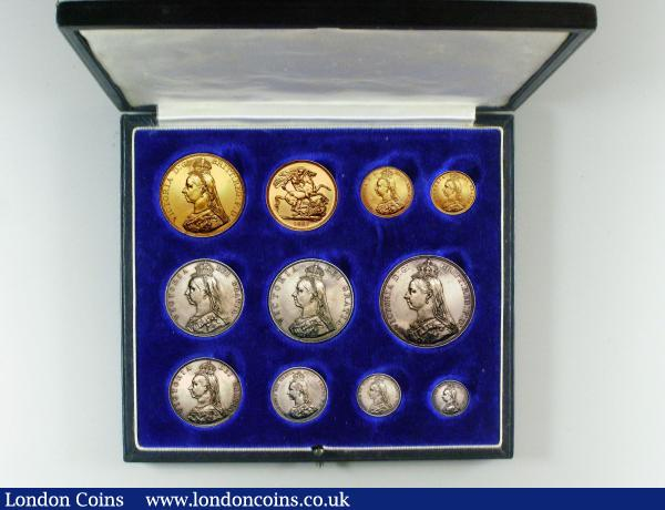 1887 Golden Jubilee Currency Set Victoria 11 Coins Gold Five Pounds to Threepence EF-UNC, the Five Pounds with some rim nicks, contained in a black box with 1887 in gold lettering on the lid, the box in very good condition : English Cased : Auction 148 : Lot 374