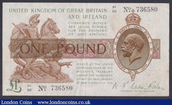 One pound Warren Fisher T31 issued 1923 series P1/50 736580 VF : English Banknotes : Auction 148 : Lot 46