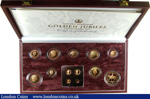 United Kingdom Golden Jubilee Gold Proof Set 2002 very impressive Royal Mint issue comprising 2002 £5 Crown, £2 ,£1, 50/20/10/5/2 and 1 Pence plus Maundy Money all struck in gold FDC cased as issued with certificates : English Cased : Auction 148 : Lot 489
