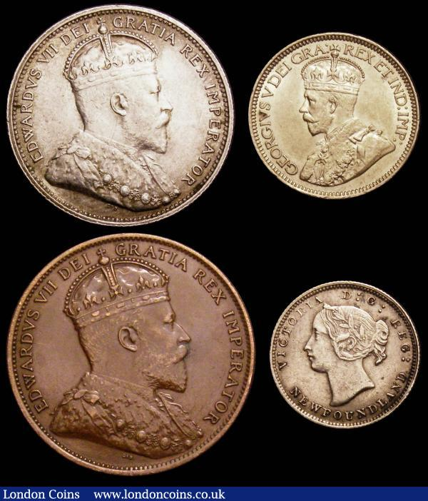 Canada Newfoundland 10 Cents 1917 C bright nEF, 5c 1881 bright VF, Cent 1909 GVF : World Coins : Auction 148 : Lot 651