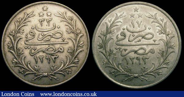 Egypt 10 Qirsh AH1293 (2)  Year 14 EF and Year 33 VF KM295 : World Coins : Auction 148 : Lot 687