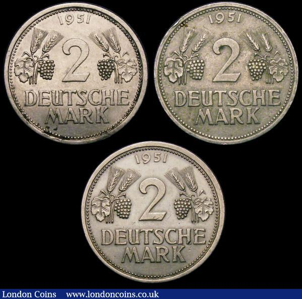 Germany Federal Republic 2 Mark 1951F, 1951J (2). GVF (3) : World Coins : Auction 148 : Lot 733