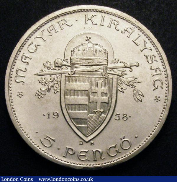 Hungary 5 Pengo 1938 Original Pattern with UP left and right of crowned arms KM#516 nFDC : World Coins : Auction 148 : Lot 761