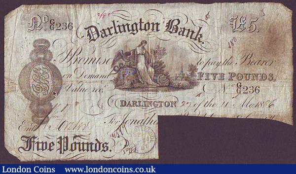 Darlington Bank £5 dated 1895 for Jonathan Backhouse & Comp., signatures cut cancelled, Fair : English Banknotes : Auction 148 : Lot 84
