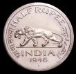 London Coins : A149 : Lot 1190 : India Half Rupee 1946 Bombay Mint Proof UNC retaining much original lustre, unlisted by Krause