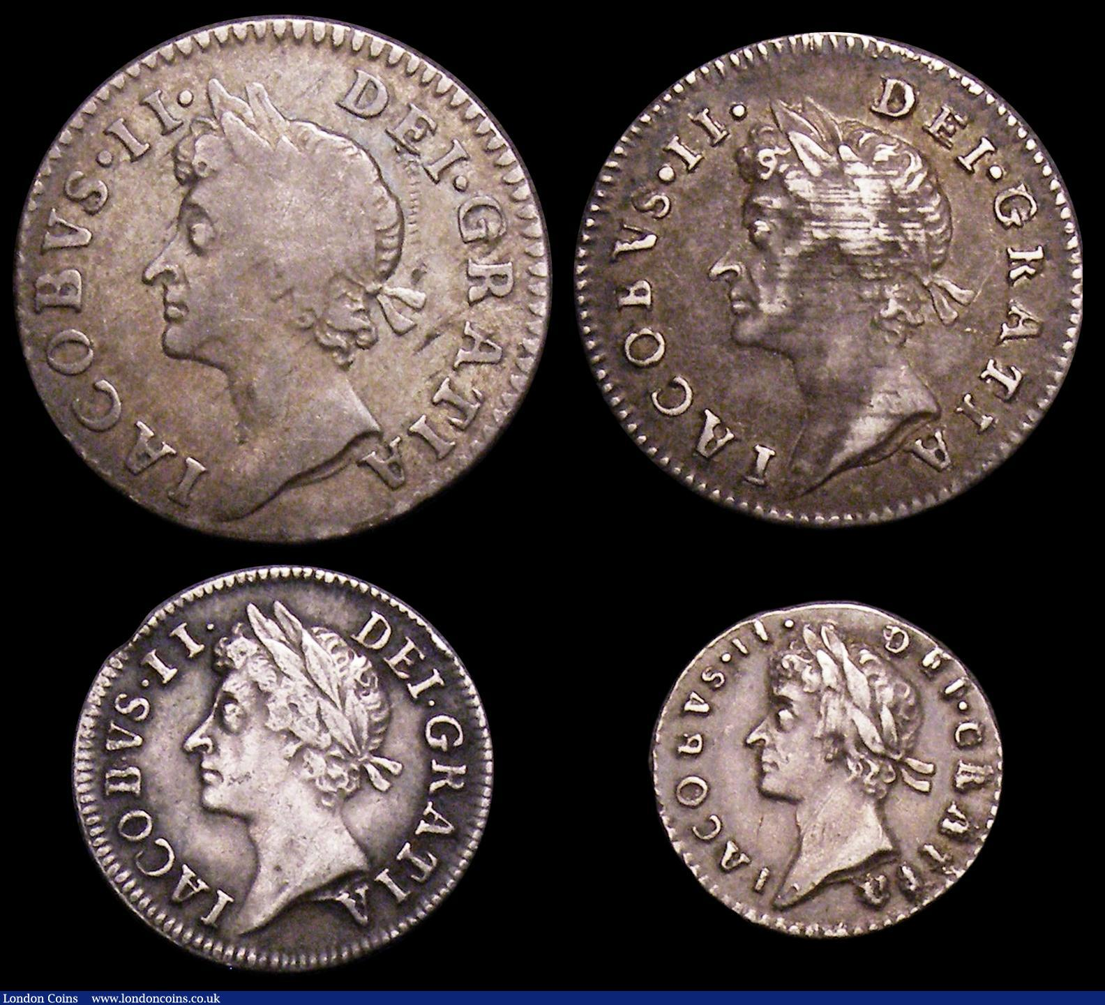 Maundy Set James II mixed dates comprising Fourpence 1687 7 over