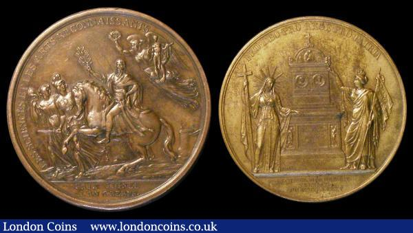 France, Napoleon I, Treaty of Campo Formio 1797, recognition of Sciences & Arts by Duvivier, bronze, 55mm. France, Charles X Memorial Medal by Depaulis/Caque, 1795, bronze, 51mm. VF. (2). : Medals : Auction 149 : Lot 899