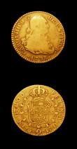 London Coins : A150 : Lot 1161 : Portugal 3200 Reis 1822 KM#363 Bright NF ex-jewellery, Spain Escudo 1798 MF VG/Near Fine has possibl...