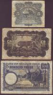 London Coins : A150 : Lot 156 : Belgian Congo (3) 100 francs 1946 Elephants Pick17c, 50 francs 1943 Leopard on reverse Pick16b and 5...