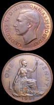 London Coins : A150 : Lot 2555 : Pennies (2) 1950 Proof Freeman 241 dies 3+C UNC with around 75% lustre and a few small spots, 1951 F...