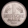 London Coins : A151 : Lot 1014 : Germany - Federal Republic 1 Mark 1968J KM#110 UNC with a couple of small tone spots, rare