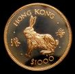 London Coins : A151 : Lot 1026 : Hong Kong $1000 1987 Year of the Rabbit Gold Proof KM#58 nFDC uncased in capsule
