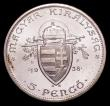London Coins : A151 : Lot 1037 : Hungary 5 Pengo 1938 Original Pattern with UP left and right of crowned arms KM#516 Lustrous UNC wit...