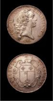 London Coins : A151 : Lot 1935 : France Jetons (2) 1744 in silver, Louis XV ASSIDVIS CONSILIIS GVF, 1649 a later copy, silvered , Obv...