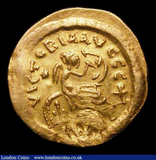 Au  Semissis.  Justinian I.  C,527-565 AD.  Rev;   VICTORIA AVGGG, Victory seated right, inscribing numerals on shield; star to right, christogram to left.  Sear 143.  Ex mount.  2.16g.  NVF : Ancient Coins : Auction 151 : Lot 1991