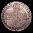 London Coins : A151 : Lot 2580 : Halfcrown 1703 VIGO ESC 569 VF with old toning, the obverse with a couple of scratches and contact m...