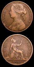 London Coins : A151 : Lot 2763 : Pennies (2) 1861 Freeman 21 dies 3+D Fair, 1861 Freeman 25 dies 4+G Near Fine
