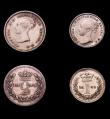 London Coins : A151 : Lot 3387 : Maundy Set 1845 ESC 2455 FourpenceGood Fine and discoloured, Threepence VF, Twopence GF with many ha...