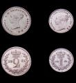 London Coins : A151 : Lot 3390 : Maundy Set 1861 ESC 2472, The Fourpence GF and cleaned, Threepence EF, TwopenceGEF with some thin sc...