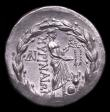London Coins : A152 : Lot 1903 : Asia Minor Aiolis, Myrina Tetradrachm (160-143BC) Obv. Laureate head of Apollo, Rev. Apollo Grynios ...