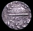 London Coins : A152 : Lot 1912 : Macedonia, Amphiotic tetradrachm (158-149BC) Obv. Bust of Artemis Tauropolos, Reverse Club and shiel...