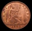 London Coins : A152 : Lot 2377 : Penny 1861 Freeman 22 dies 4+D UNC the obverse with a slightly uneven by not attractive tone, the re...