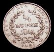 London Coins : A153 : Lot 1035 : India Quarter Rupee 1835 Calcutta Mint, 20 Berries, RS incuse on truncation KM#448.2 NEF with a smal...