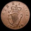 London Coins : A153 : Lot 1057 : Ireland Halfpenny 1775 5 over 4 in date a clear overstrike showing the upright and the crosslet of t...