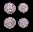 London Coins : A153 : Lot 2260 : Maundy Set 1729 ESC 2402 Fourpence NEF with some haymarking and adjustment lines, Threepence About E...