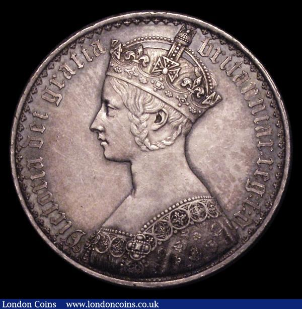 Crown 1847 Gothic UNDECIMO ESC 288 NEF/EF toned, the obverse with contact marks and a light trace of old deposit behind the bust : English Coins : Auction 153 : Lot 2587