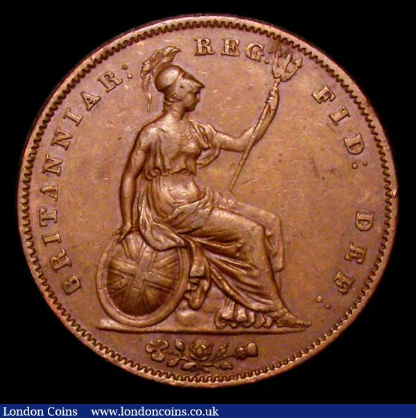 Penny 1851 DEF Far Colon, No serifs to B of BRIT, an unlisted variety NVF/VF with some contact marks and a small edge bruise : English Coins : Auction 153 : Lot 3150