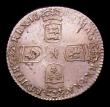 London Coins : A153 : Lot 3350 : Sixpence 1696 First Bust Early Harp ESC 1533 EF with die clashing showing a part of the shield behin...